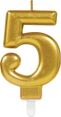 Lumanare tort cifra 5 aurie(gold)