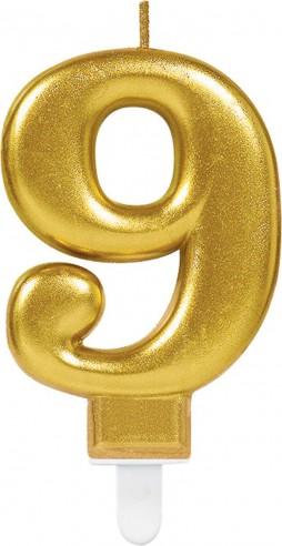 Lumanare tort cifra 9 aurie(gold)