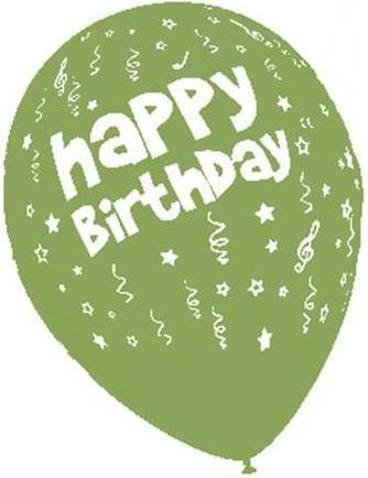 Baloane latex 30 cm imprimate Happy Birthday verde