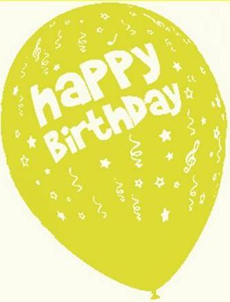 Baloane latex 30 cm imprimate Happy Birthday galbene