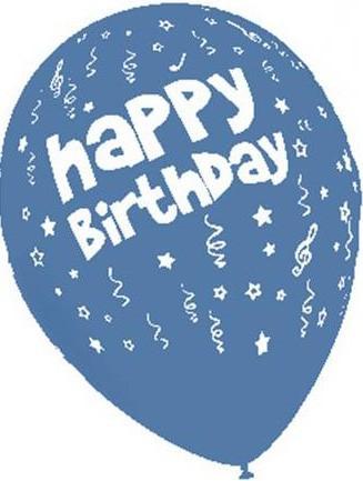 Baloane latex 30 cm imprimate Happy Birthday albastre
