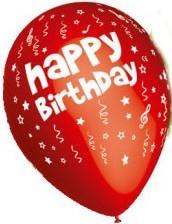 Baloane latex 30 cm imprimate Happy Birthday ROSII