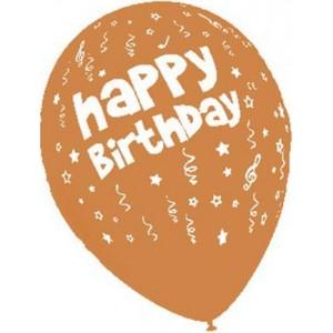 Baloane latex 30 cm imprimate Happy Birthday portocaliu