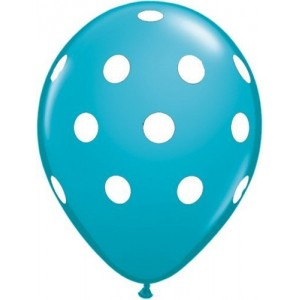 Balloon latex turquoise with polka dots 30cm