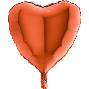 Foil balloons 45 cm simple heart ORANGE