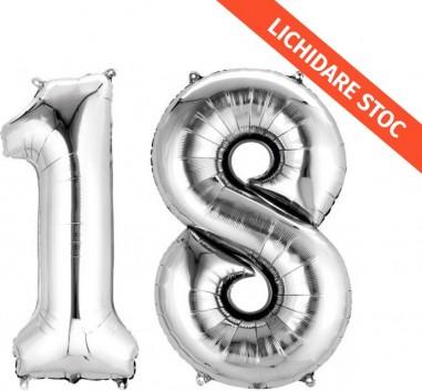 Baloane cifra 18 argintii 101 cm