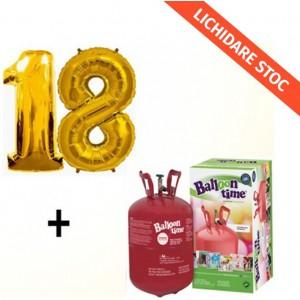 Butelie cu heliu de unica folosinta 0.25 mc + baloane cifra 18 aurii dimensiune 101 cm