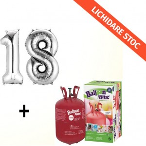 Butelie cu heliu de unica folosinta 0.25 mc + baloane cifra 18 argintii dimensiune 101 cm