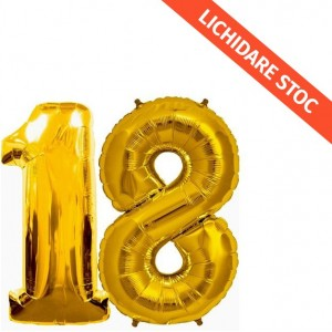 Baloane cifra 18 aurii 101 cm