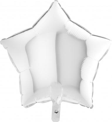 Baloane folie 45 cm simple stea Alba