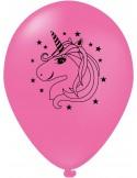 Balon latex roz 30 cm imprimat unicorn