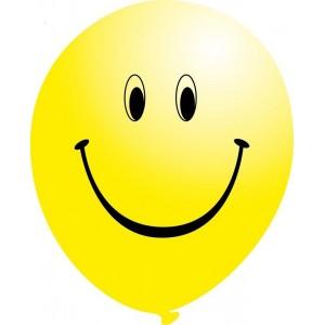 Balon latex galben 30 cm imprimat Smiley