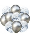 Set 10 baloane latex argintiu