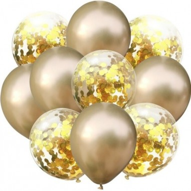 Set 10 baloane latex auriu