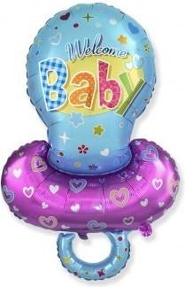Balon figurina welcome baby albastru 85cmx60cm