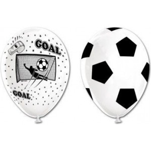 Set 6 baloane latex, imprimate fotbal, 30cm