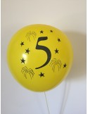 Set 10 baloane, latex, inscriptionate cifra 5, multicolor