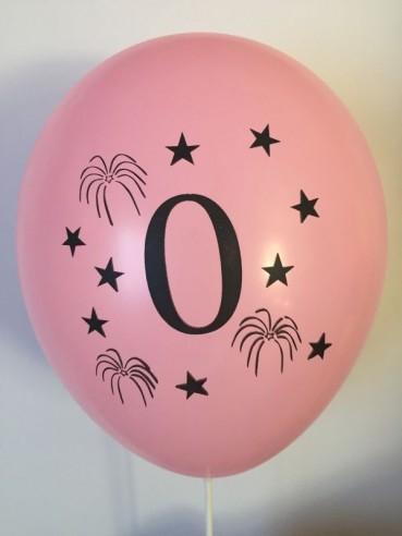 Set 10 baloane, latex, inscriptionate cifra 0, multicolor, 30 cm