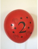 Set 10 baloane, latex, inscriptionate cifra 2, multicolor, 30 cm