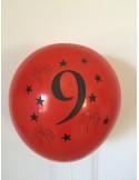Set 10 baloane, latex, inscriptionate cifra 9, multicolor, 30 cm