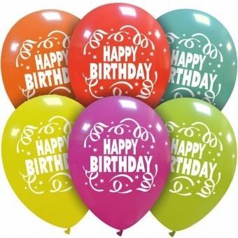 Set 6 baloane latex 30 cm imprimate Happy Birthday