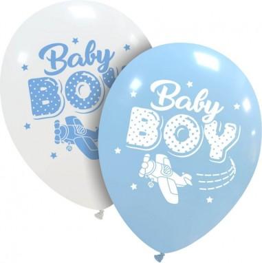 Set 6 baloane latex 30 cm imprimate baby boy