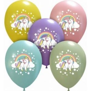 Set 10 baloane latex imprimate unicorn 30 cm