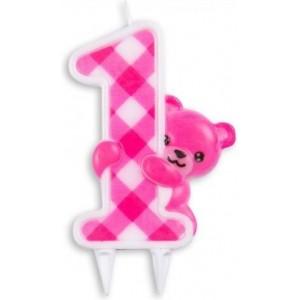 Set 4 lumanari unicorn, roz