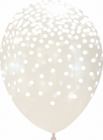Set 10 baloane latex 30 cm inscriptionate confetti albe