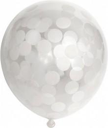 Set 6 baloane latex 30 cm cu confetii albe