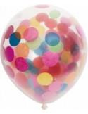 Set 6 baloane latex 30 cm cu confetii multicolore
