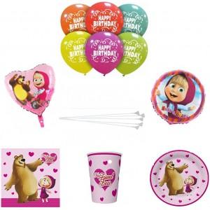 Set articole party fetita si ursul (masha)