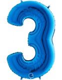 Baloane Figurina Cifra 3 Blue Dimensiunea 100 Cm