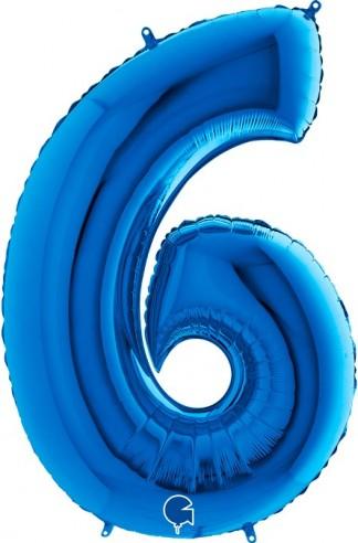 Baloane Figurina Cifra 6 Blue Dimensiunea 100 Cm