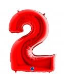 Baloane Figurina Cifra 2 Rosu Dimensiunea 100 Cm