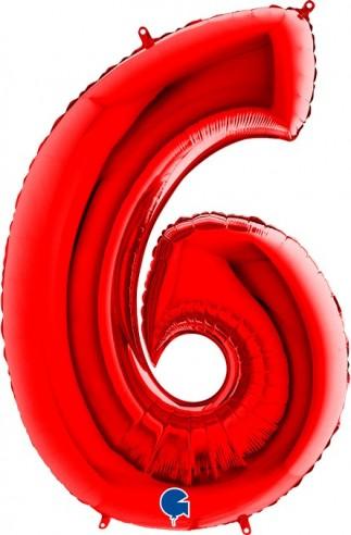 Baloane Figurina Cifra 6 Rosu Dimensiunea 100 Cm