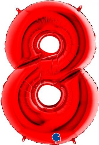 Baloane Figurina Cifra 8 Rosu Dimensiunea 100 Cm