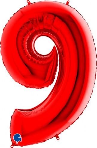 Baloane Figurina Cifra 9 Rosu Dimensiunea 100 Cm