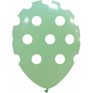 Balon latex 30 cm verde menta imprimat buline