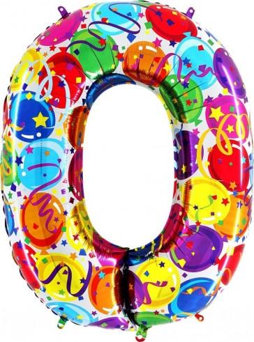 Balon folie cifra 0,ambalat,100 cm party
