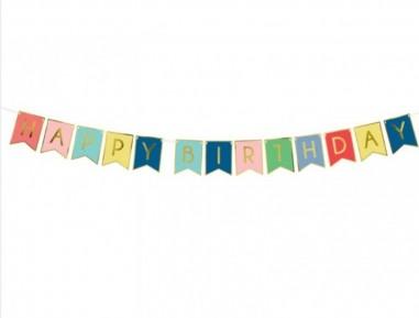 Banner Happy Birthday, multicolor, 15 cm x 175 cm