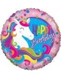 Balon folie 45 cm Happy Birthday unicorn