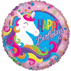 Balon folie 45 cm Happy Birthday unicorn