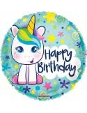 Balon folie 45 cm Happy Birthday micul unicorn