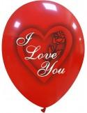 Balon latex imprimat I love you, model trandafir,30 cm