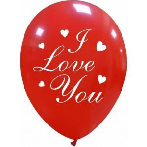 Balon latex imprimat I love you, model inima, 30 cm