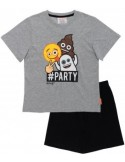 Pijamale copii Emoji, gri/negru, 100% bumbac