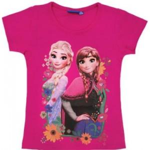 Tricou fetite Frozen, roz, 100% bumbac