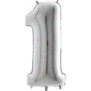 BALON FOLIE cifra 1, Holographic, 66 CM