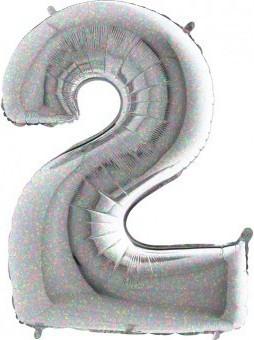 BALON FOLIE cifra 0, Holographic, 66 CM